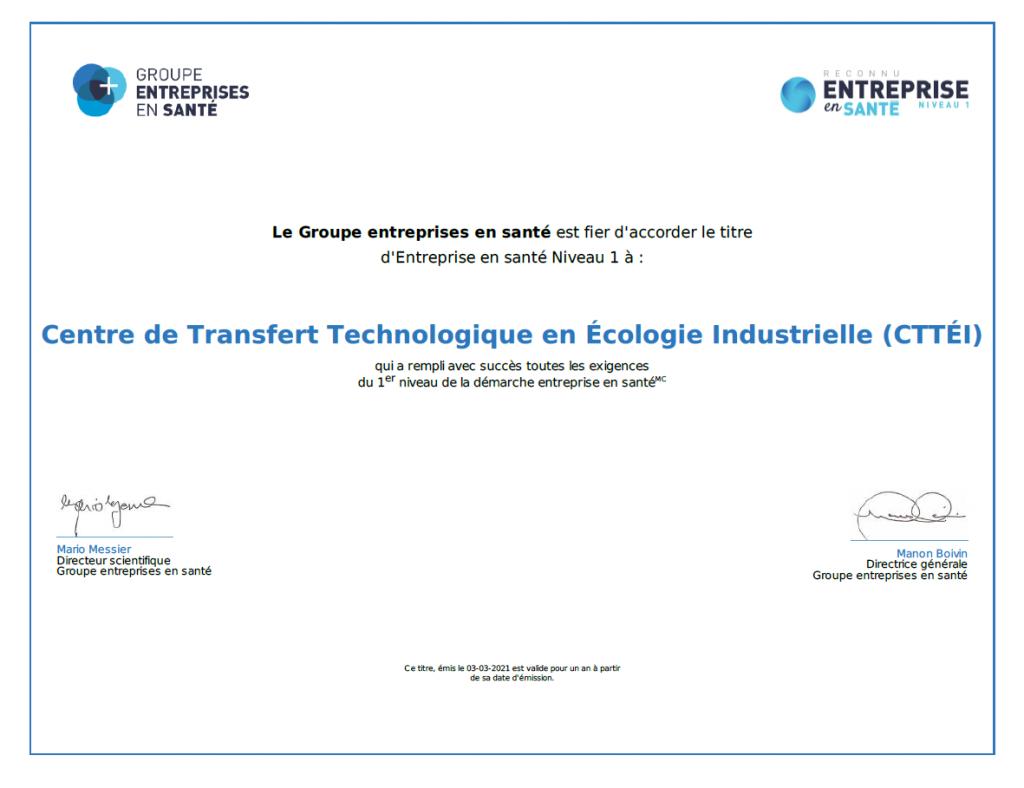 Le Groupe entreprises en santé accorde le titre d'entreprise en santé niveau 1 au CTTÉI